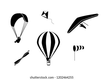 Set of vector icons paraglider hang-gliding hot air balloon wind sock kite and propeller in black color isolated