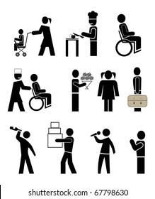 set of vector icons - people in action. black pictograms on white