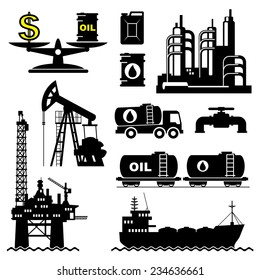 set vector icons of petroleum and oil industry