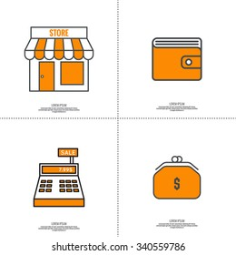 Set of vector icons pictograms in flat style. Purse, shop, cash desk, Wallet.