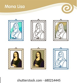 Set of vector icons. The picture of Leonardo da Vinci's Mona Lisa.
