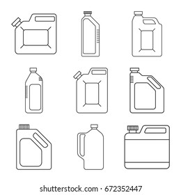 Set of vector icons of plastic cans.