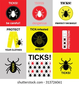 Set of vector icons with prevention about ticks. Made in vector. Easy recolor.