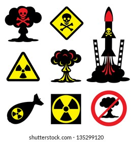 set vector icons of radiation hazard and nuclear weapons