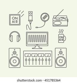 set of vector icons - radio studio