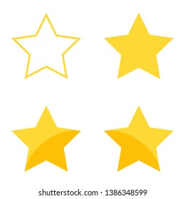 Set of vector icons for ratings. The stars are hollow, filled, with inner shadow.
