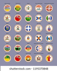 Set of vector icons. Regions of Canada flags and coat of arms. 3D Illustration.