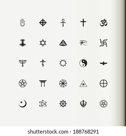 Set of vector icons. Religion, philosophy, spirituality, occultism.