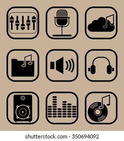 Set of vector icons representing music and musical equipment concepts