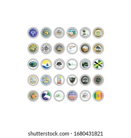 Set of vector icons. Seals of cities, California state, USA.