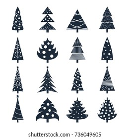Set of vector icons of silhouettes of Christmas trees decorated with balls and garlands. New Year. Design for banners, cards, stickers, postcards.