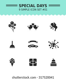 Set of vector icons with special days and party concepts, isolated on white