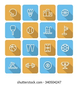 A set of vector icons for sports, rugby, swimming, badminton, table tennis, scuba diving, dumbbell, basketball, podium, victory stand, trophy, football, golf, billiards, tennis