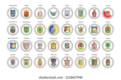 Set of vector icons. States of Mexico flags. 3D illustration.