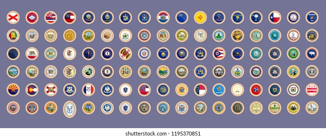 Set of vector icons. States of USA flags and seals. 3D illustration.