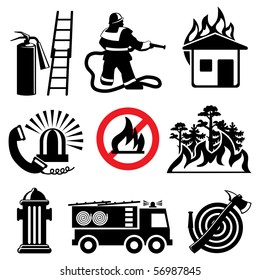 set of vector icons stencil. Fire safety and means of salvation.