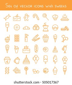 Set of vector icons with sweets