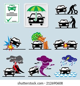 set of vector icons with symbols car insurance