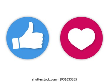Set of vector icons, thumb up and heart icon. Round button, I like it for chat website, social media, mobile app. Approval, evaluation, expression of opinion.