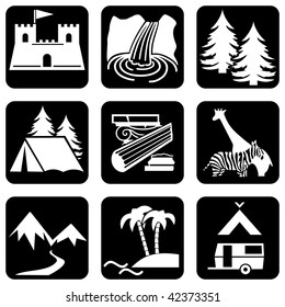 set of vector icons to travel and activities theme