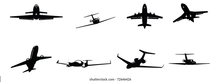 set of vector illustrated corporate business aircraft