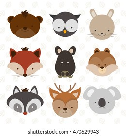 Set of vector illustrated cute forest animals