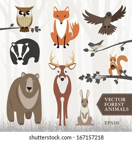 Set of vector illustrated forest animals