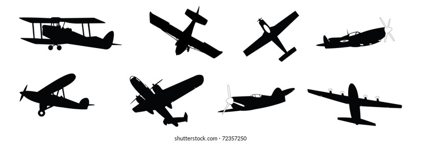 set of vector illustrated propeller powered aircraft