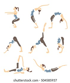 Set Of Vector Illustrated Sketched Yoga Asanas
