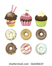 Set of vector illustrated sweets. Donuts and cupcakes. Different delicious. Chocolate, vanilla, strawbery and cherry yummy bakery. Cute vector illustration