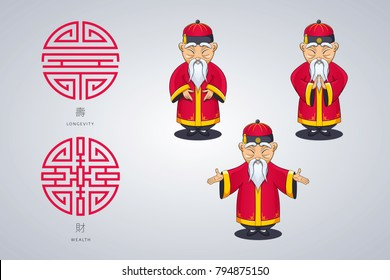 Set of vector illustration Asian old man in national clothes in different poses. Ancient symbol of longevity and wealth. Character stands. Hands placed on sides or folded in welcome gesture.