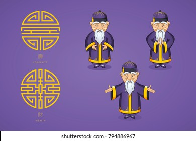Set of vector illustration Asian old man in national clothes in different poses. Ancient symbol of longevity and wealth. Character stands. Hands are placed on sides or folded in welcome gesture.