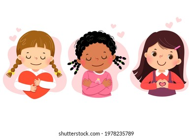 Set of vector illustration cartoon of little girls hugging themself. Self love, self care, positive, happiness concept.