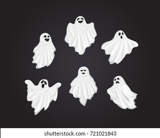Set Vector Illustration and cartoon on dark background : Whisper Ghost cover fabric white. Ghost character Costume evil or Character creepy funny cute. Party celebrate Halloween night holiday.