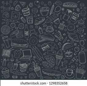 Set of Vector illustration Cartoon style. Fast food objects. This collection include hamburger, snack, burger, french fries, barbecue, drinks and other items.