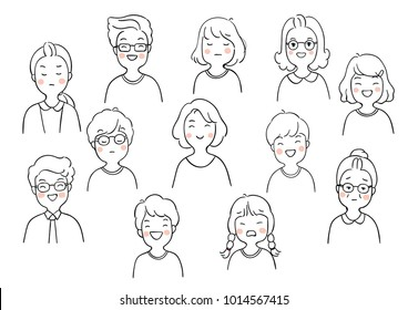 Set vector illustration character design outline portrait of people different emotion.Draw doodle cartoon style.