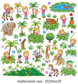 Set Vector illustration for children. Adventures of Mary. Travel in the jungletogether with Mary and make new friends!