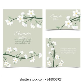 Set vector illustration of decorative branches with flowers. Spring blossom