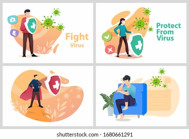Set Vector illustration fight covid-19 corona virus. people fight and protect virus concept. corona viruses vaccine concept. end of 2019-ncov. don't be afraid of the corona virus concept.
