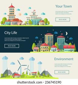 Set of vector illustration of flat design urban landscape compositions