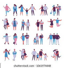 Set of vector illustration in a flat style of different activities people