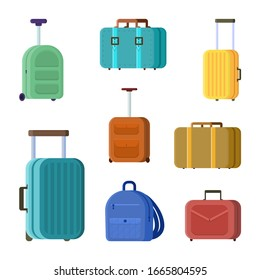 set of vector Illustration in flat style with travel bags. Colorful tourist luggage Isolated on white backdrop. Big collection of cartoon yellow and orange handbag, and green briefcase, blue rucksack