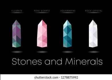 Set of vector illustration of gemstones: fluorite, moonstone, quartz, rose quartz, cactus quartz, smoky quartz, mountain crystal, tourmaline, aquamarine. Low Poly Gemstones and Minerals.
