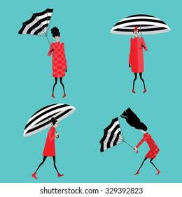 set vector illustration of girls with umbrella