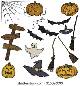 Set vector illustration Halloween items