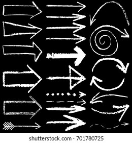 set of vector illustration of hand drawn chalk arrows isolated on black background
