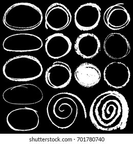 set of vector illustration of hand drawn chalk circles isolated on black background