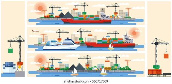 Set vector illustration header title transport website. Flat design For infographic port loading industrial crane cargo transportation ship  background. Corporate business style  banner image backdrop