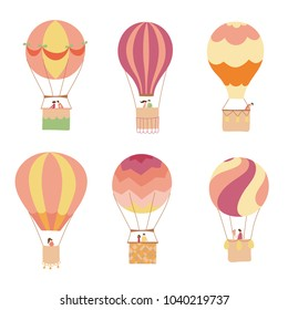 Set of vector illustration of hot air balloon with passengers. Collection of isolated flat cartoon air balloons and people. Hand drawn. Drawing for print, card, flyer, fabric, textile, poster.