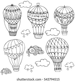 SET vector illustration with hot air balloon in the sky